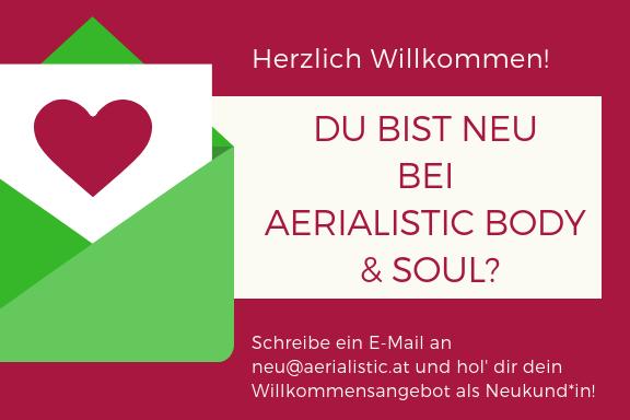 Für Anfänger und Studenten haben wir Angebote! Schreibe eine E-Mail an Aerialistic Body & Soul und erhalte dein Willkommensangebot als Neukunde.
